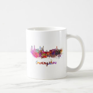 Guangzhou skyline in watercolor splatters coffee mug