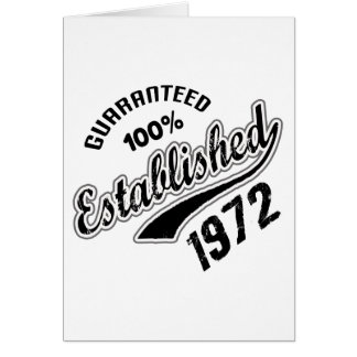 Guaranteed 100% Established 1972 Card
