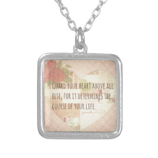 Guard Your Heart - Proverbs 4:23 Square Pendant Necklace