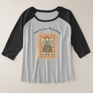 GUARDIAN ANGEL AND CAT 3/4 SLEEVE T-SHIRT