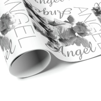 Guardian Angel black and white retro monogram Wrapping Paper