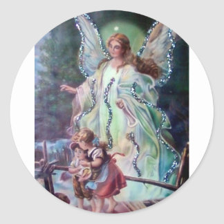GUARDIAN ANGEL c. 1900 Classic Round Sticker