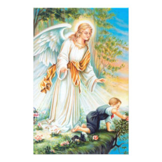 Guardian Angel Child Boy Flowers Stationery