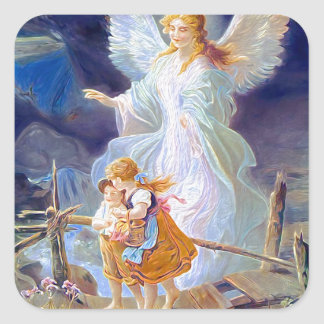 Guardian Angel, Children and Bridge Square Sticker