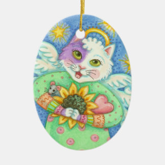 GUARDIAN ANGEL, CHRISTMAS CAT ORNAMENT Oval