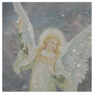 Guardian Angel Fabric with Glitter Stars