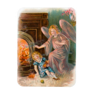 Guardian angel girl and fire rectangular photo magnet