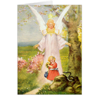 Guardian angel girl and queue greeting card