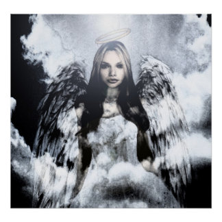 Guardian Angel in Clouds Poster