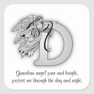 Guardian Angel Letter D Square Sticker