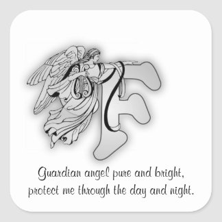 Guardian Angel Letter F Square Sticker