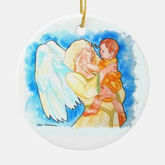 Guardian Angel Round Ceramic Decoration