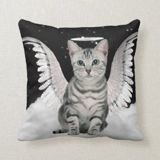 Guardian Angel Silver Tabby Cat Pet Lover Cushion