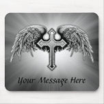Guardian Angel Winged Cross Design Mouse Pad