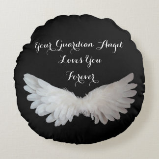 Guardian Angel Wings Love Inspirational Quote Round Cushion