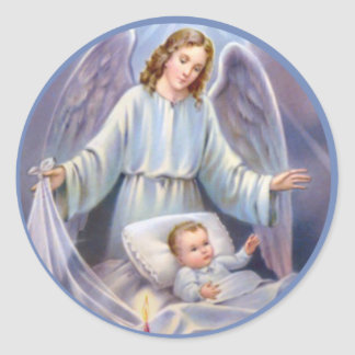Guardian Angel with Baby in Crib Classic Round Sticker