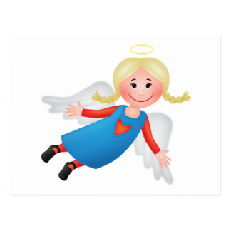 Guardian angel with blond plaits postcards
