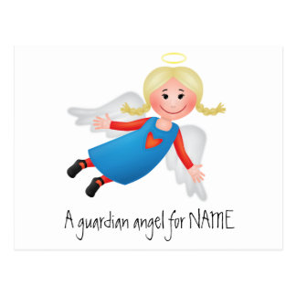 Guardian angel with blond plaits postcard