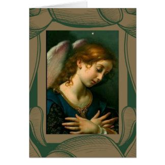 Guardian Angel With Gold & Green Border Card