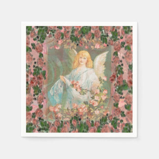 Guardian Angel with Pink Roses Disposable Serviette