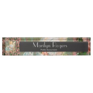 Guardian Angel with Pink Roses Nameplate