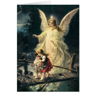 Guardian angel with two children on bridge card