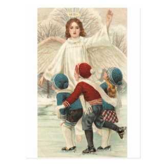 Guardian angels and ice-skate ice skate postcard