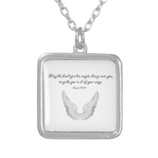 guardian angels silver plated necklace