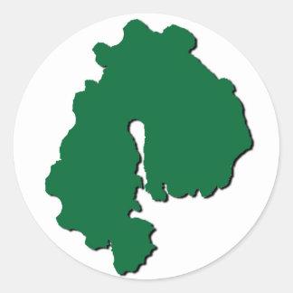 Guardian Island sticker, outline, green on white Classic Round Sticker