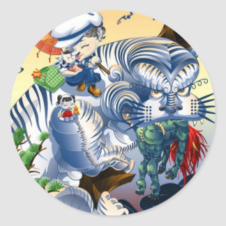 Guardian Of The West - Tiger Round Sticker