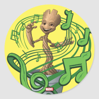 Guardians of the Galaxy | Baby Groot Music Notes Classic Round Sticker