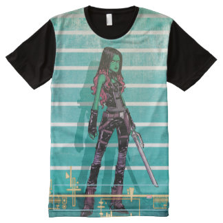Guardians of the Galaxy | Gamora Mugshot All-Over Print T-Shirt