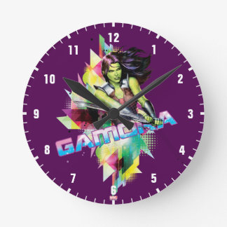 Guardians of the Galaxy | Gamora Neon Graphic Round Clock