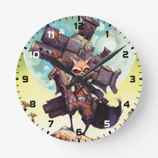 Guardians of the Galaxy   Rocket Armed & Ready Round Clock