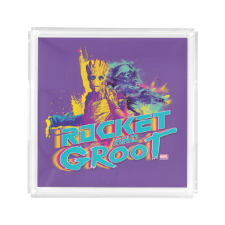 Guardians of the Galaxy | Rocket & Groot Neon Art Acrylic Tray
