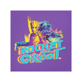 Guardians of the Galaxy | Rocket & Groot Neon Art Canvas Print