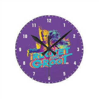 Guardians of the Galaxy | Rocket & Groot Neon Art Round Clock