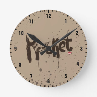 Guardians of the Galaxy | Rocket Painted Name Round Clock
