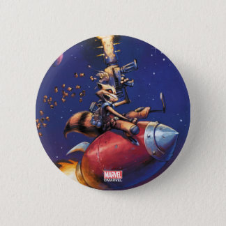Guardians of the Galaxy   Rocket Riding Missile 6 Cm Round Badge