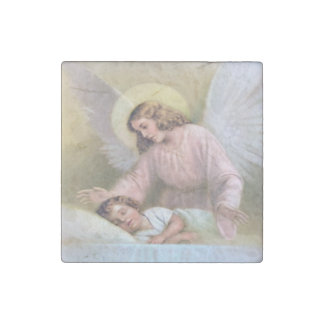 Guarding angel of children,vintage,reproduction stone magnet