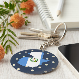 Guatemala Flag Map on Polka Dots Key Ring