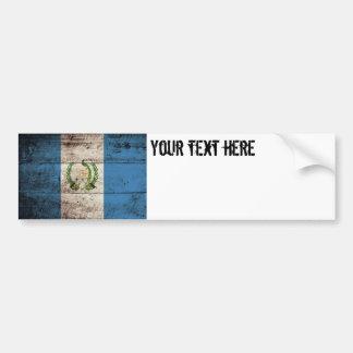 Guatemala Flag on Old Wood Grain Bumper Sticker