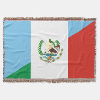 guatemala mexico half flag symbol throw blanket