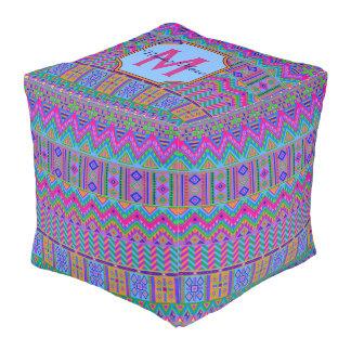 Guatemalan Tribal Monogram Colorful Dorm Room Pouf