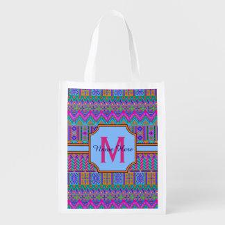 Guatemalan Tribal Monogram Multi-Purpose Girly Reusable Grocery Bag