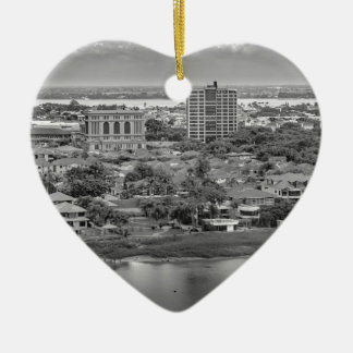 Guayaquil Aerial View from Window Plane Ceramic Heart Decoration