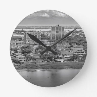 Guayaquil Aerial View from Window Plane Round Clock