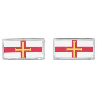 Guernsey Flag Silver Finish Cufflinks