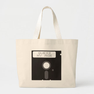 Guess my age. Funny old computer floppy disk Jumbo Tote Bag