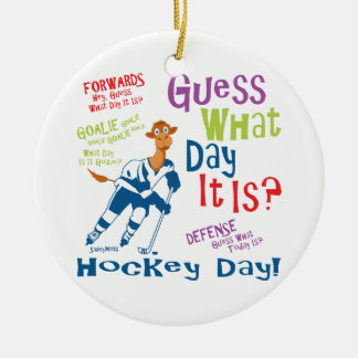 Guess What Day Hockey Double-Sided Ceramic Round Christmas Ornament